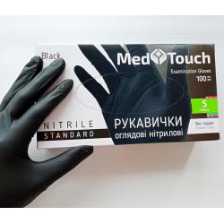 Перчатки нитриловые неопудреные MedTouch Черные р-р S