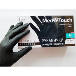 Перчатки нитриловые неопудреные MedTouch Черные р-р M